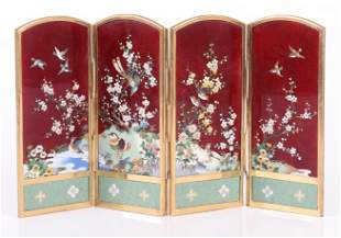 A Japanese Cloisonne Table Screen