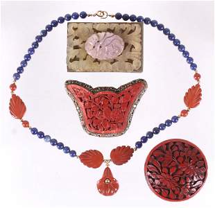A Group of Chinese Jewelry, Cinnabar, Etc...