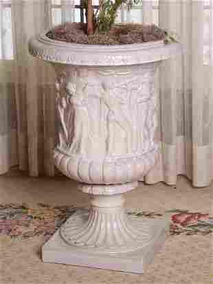 A Large White Glazed Ceramic Urn