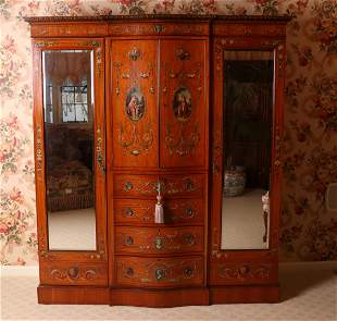 An Edwardian Paint Decorated Armoire