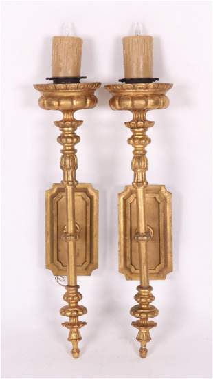 A Pair of Large Vintage Giltwood Sconces