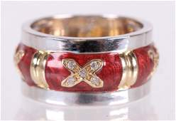 A 14k Gold, Diamond and Enamel Ring