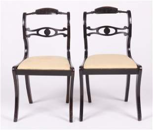 A Pair of Anglo Indian Ebony Chairs