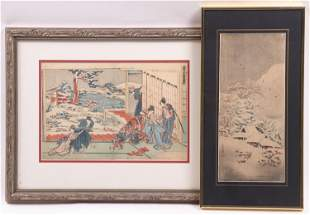 Two Japanese Woodblock Prints Including Shotei