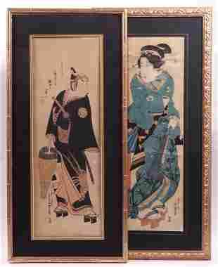 Two Japanese Kakemono-e Woodblock Prints