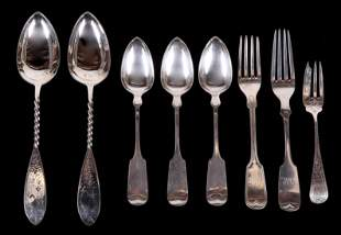 A Group of Bailey and Co. Coin Silver Flatware