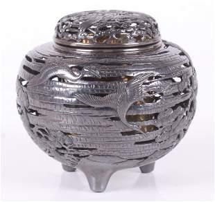 A Fine Japanese Silver Incense Burner