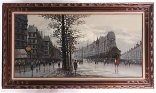 Large Parisian Scene, Oil on Canvas