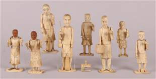 A Group of Japanese Carved Bone Figures