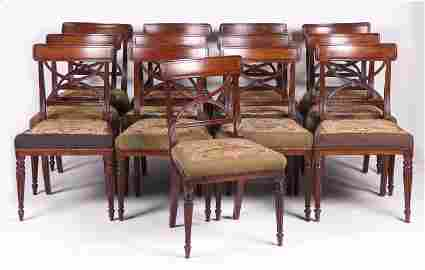 A Set of Thirteen English Regency Dining Chairs