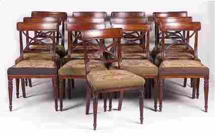 A Set of Thirteen English Regency Dining Chairs
