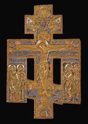 A Russian Bronze and Enamel Crucifix Icon