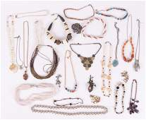 A Large Group of Costume Jewelry Necklaces