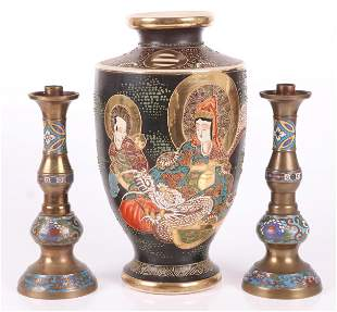 A Satsuma Vase and a Pair of Cloisonne Candlesticks