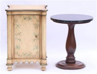 A Small Cabinet and a Marble Top Stand