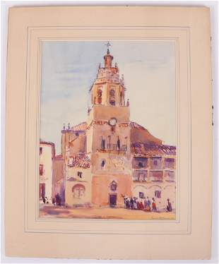 Watercolor, Early 20th Century, Mexican Scene
