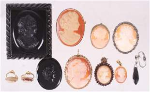 A Group of Antique Cameo Jewelry