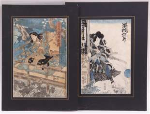 Two Japanese Woodblock Prints, Kunisada, Kunioshi