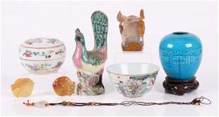A Group of Chinese Items, Porcelain, Agate