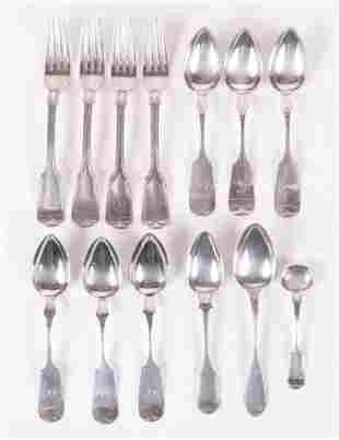 A Group of Coin Silver Flatware, Conrad Bard