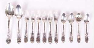12 Pieces of Coin Silver Flatware, Jenny Lind