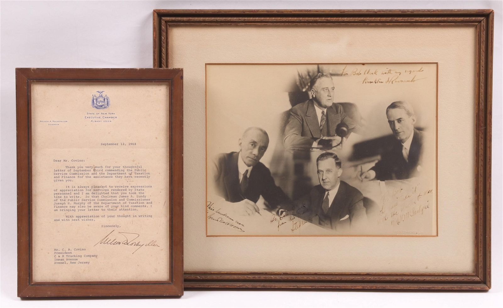 A Letter and A Signed Photograph, FDR, Rockefeller
