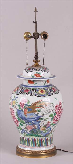 A Large Chinese Porcelain Urn Mounted as a Lamp