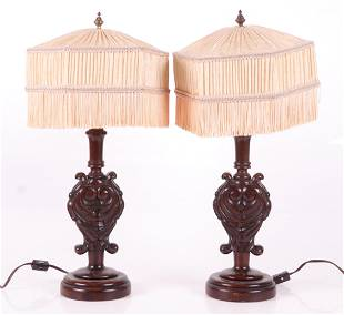 A Pair of Carved Wooden Lamps