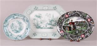 Three Pieces of English Transferware, 19th c.