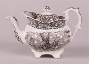 A Rare Brown Transferware Teapot c. 1830