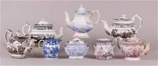 A Group of English Transferware, Teapots, Etc...