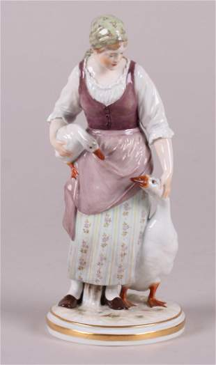 A Large Meissen Figure, Girl with Geese