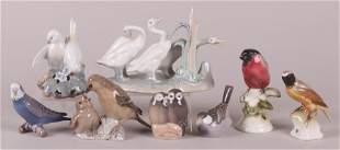 Eight Porcelain Bird Figures, Nymphenburg, Etc...