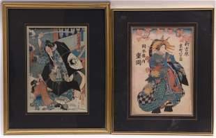 Two Japanese Woodblock Print, Kunisada