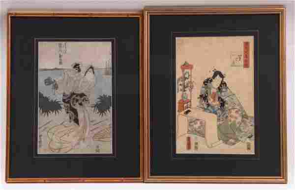 Two Japanese Woodblock Prints, Kunisada, Toyokuni I