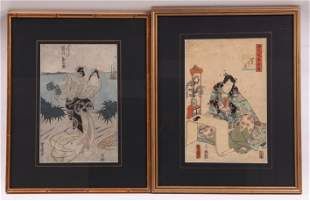 Two Japanese Woodblock Prints, Kunisada, Toyokuni I