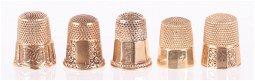 Five 14k Gold Thimbles, Paneled