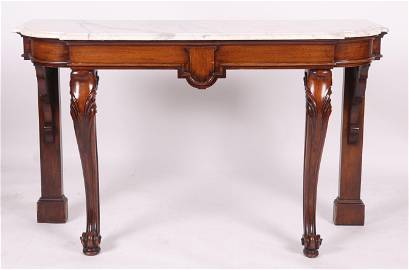 An English Mahogany and Marble Pier Table