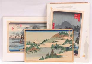 Three Japanese Woodblock Prints, Including Hiroshige