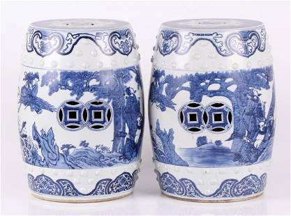 A Pair of Chinese Porcelain Garden Seats