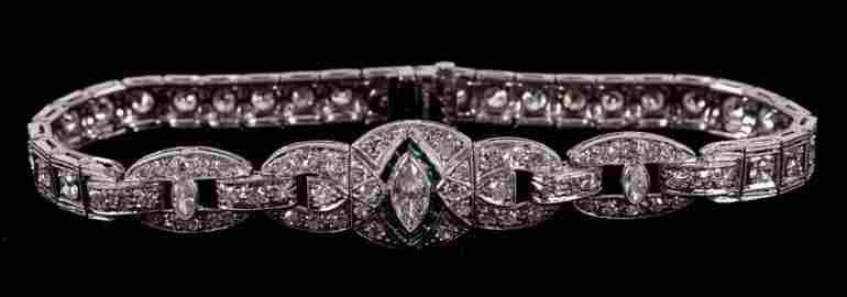 An Art Deco Platinum, Diamond and Emerald Bracelet