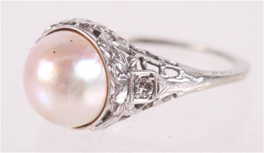 A White Gold, Pearl and Diamond Ring