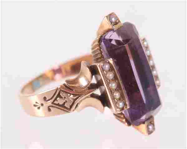 An Antique Gold, Amethyst and Seed Pearl Ring