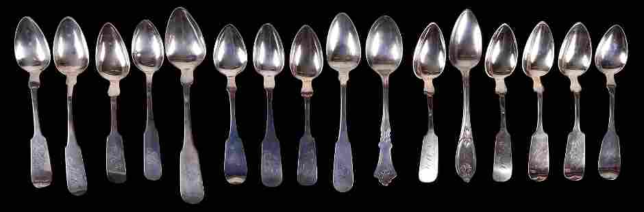 A Group of Coin Silver Spoons , New Jersey Makers