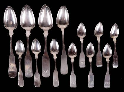 A Group of Baltimore Coin Silver Spoons