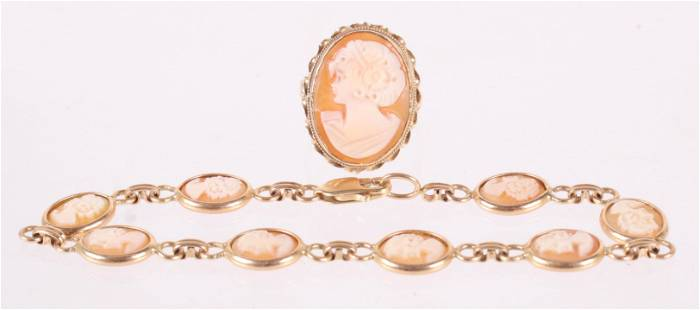Two Pieces of Gold Cameo Jewelry
