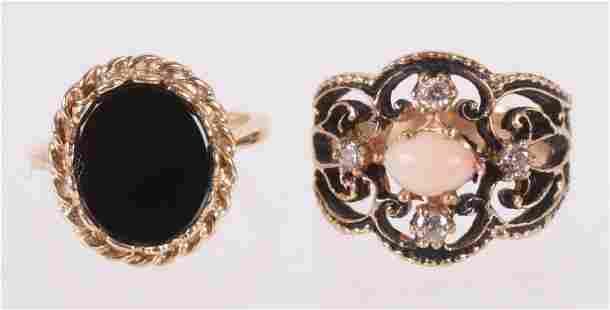 Two 14k Gold Rings, Onyx, Diamonds, Enamel, Coral