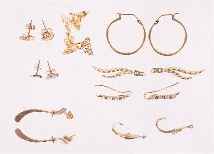 Eight Pairs of Small Gold Earrings