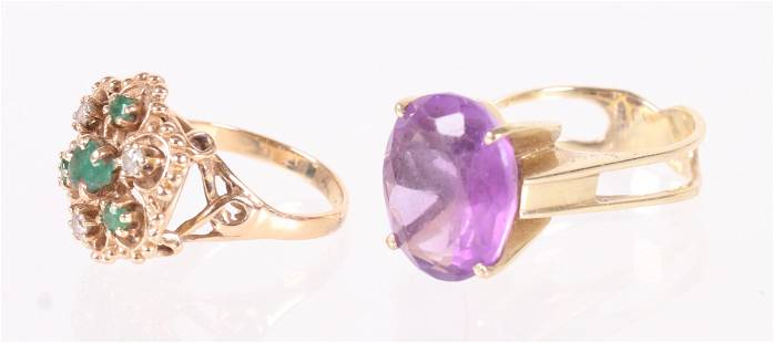 Two 14k Gold Cocktail Rings, One Amethyst