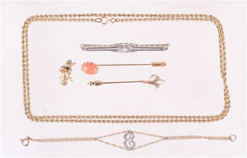 Six Pieces of Gold Jewelry, Pins, Chains